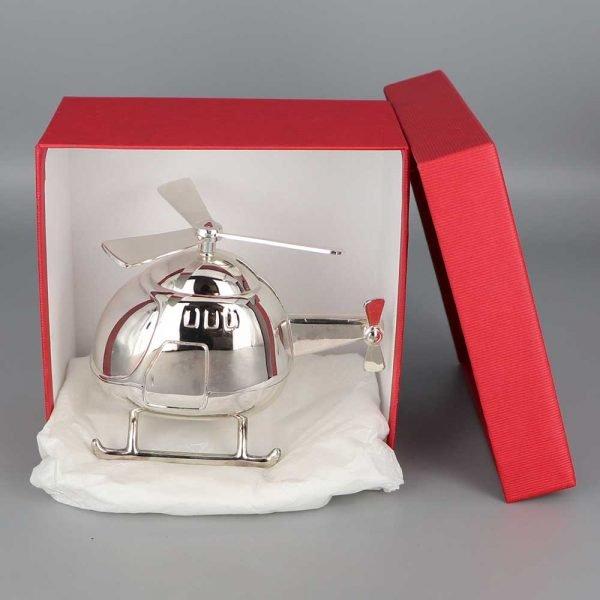 Daniel Cregut Cadeaux De Famille Tirelire Argent Helicoptere