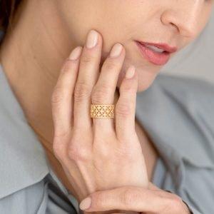 Bague Femme Vermeil Ajouree Perles Aubry Cadoret