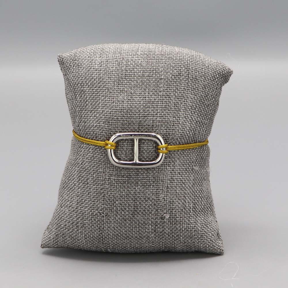 Bracelet Argent Massif Maille Marine Fil Nylon Moutarde Cadeaux De Famille Aubry Cadoret