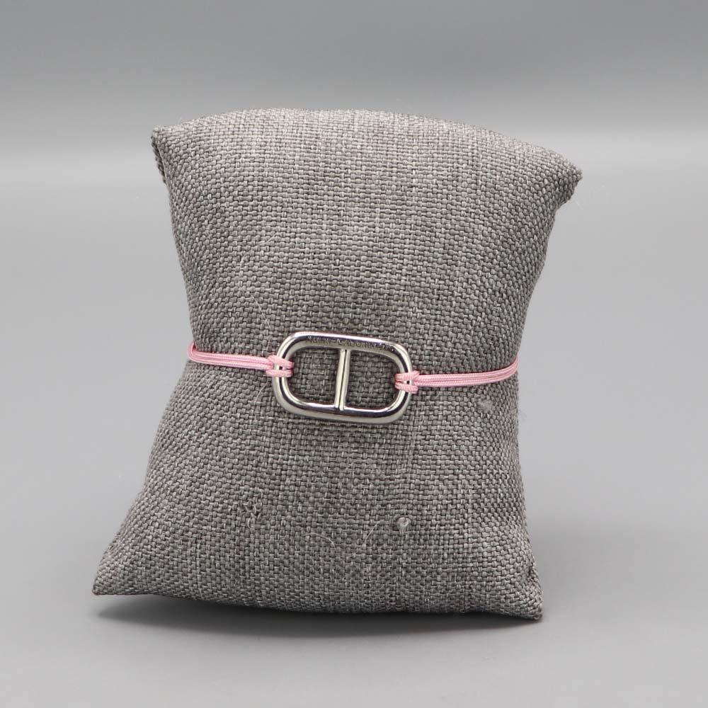 Bracelet Argent Massif Maille Marine Fil Nylon Rose 2 Cadeaux De Famille Aubry Cadoret