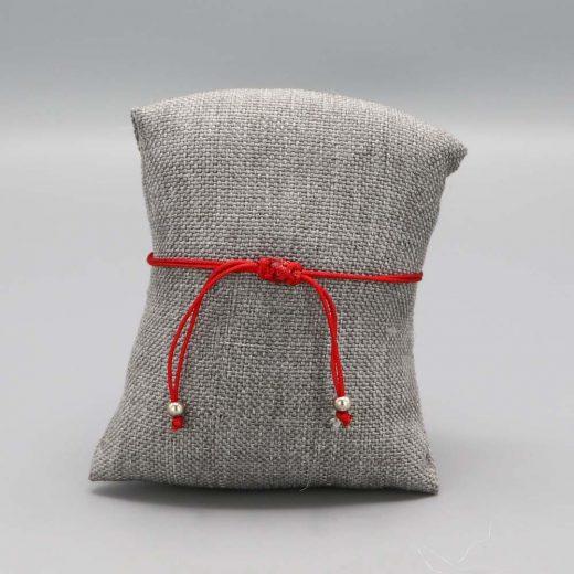 Bracelet Argent Massif Maille Marine Fil Nylon Rouge 2 Cadeaux De Famille Aubry Cadoret