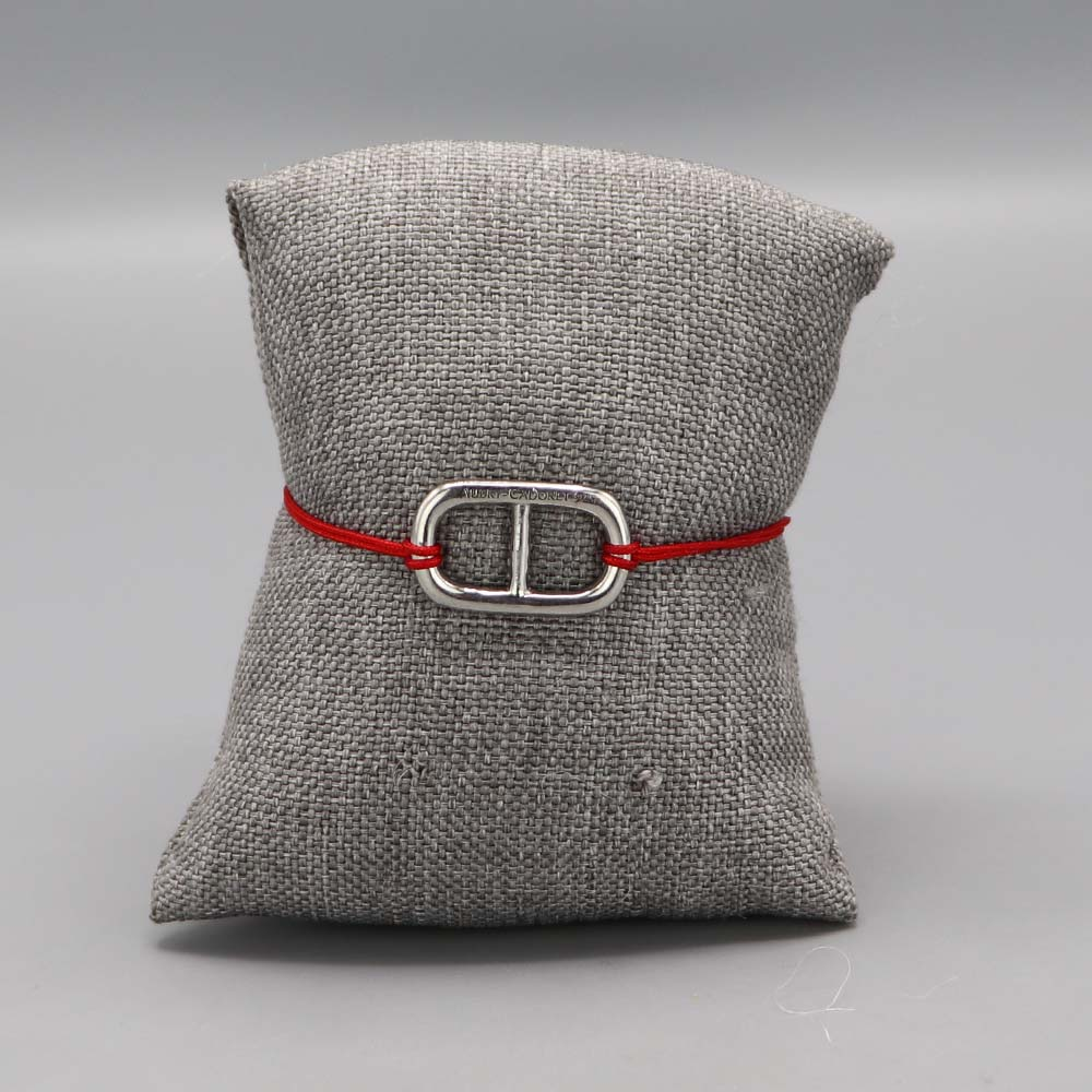Bracelet Argent Massif Maille Marine Fil Nylon Rouge Cadeaux De Famille Aubry Cadoret