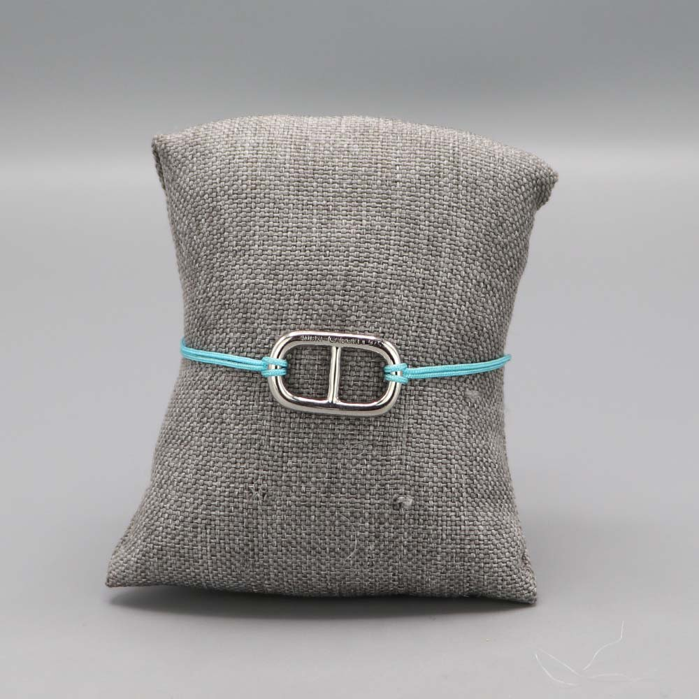 Bracelet Maille Marine Argent Massif Fil Nylon Turquoise Cadeaux De Famille Aubry Cadoret